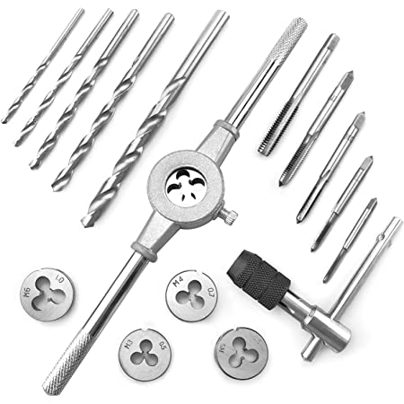 Azuno 17-pcs Metric Tap and Die Set, with Drill Bit and Wrenches, Durable Bearing Steel for DIY Threading, Cutting