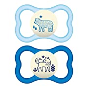 MAM Night Pacifiers (2 Count), MAM Pacifiers 6+ Months, Best Pacifier for Breastfed Babies, Glow in the Dark Pacifier