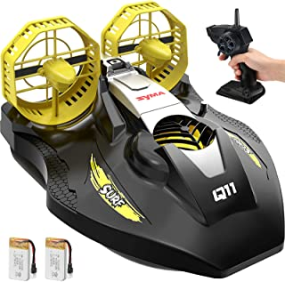 Remote Control Boat for Kids, SYMA Q11 Hovercraft RC Boat for Land, Pools and Lakes with 2.4GHz Speedboat, Double Power, L...
