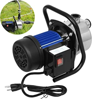 Water Transfer Pump 845 GPH, 1.6HP Stainless ON/Off Irrigation Pump, Shallow Well Pump for Lawn Garden (1.6HP, Stainless Steel Blue 110-120V)
