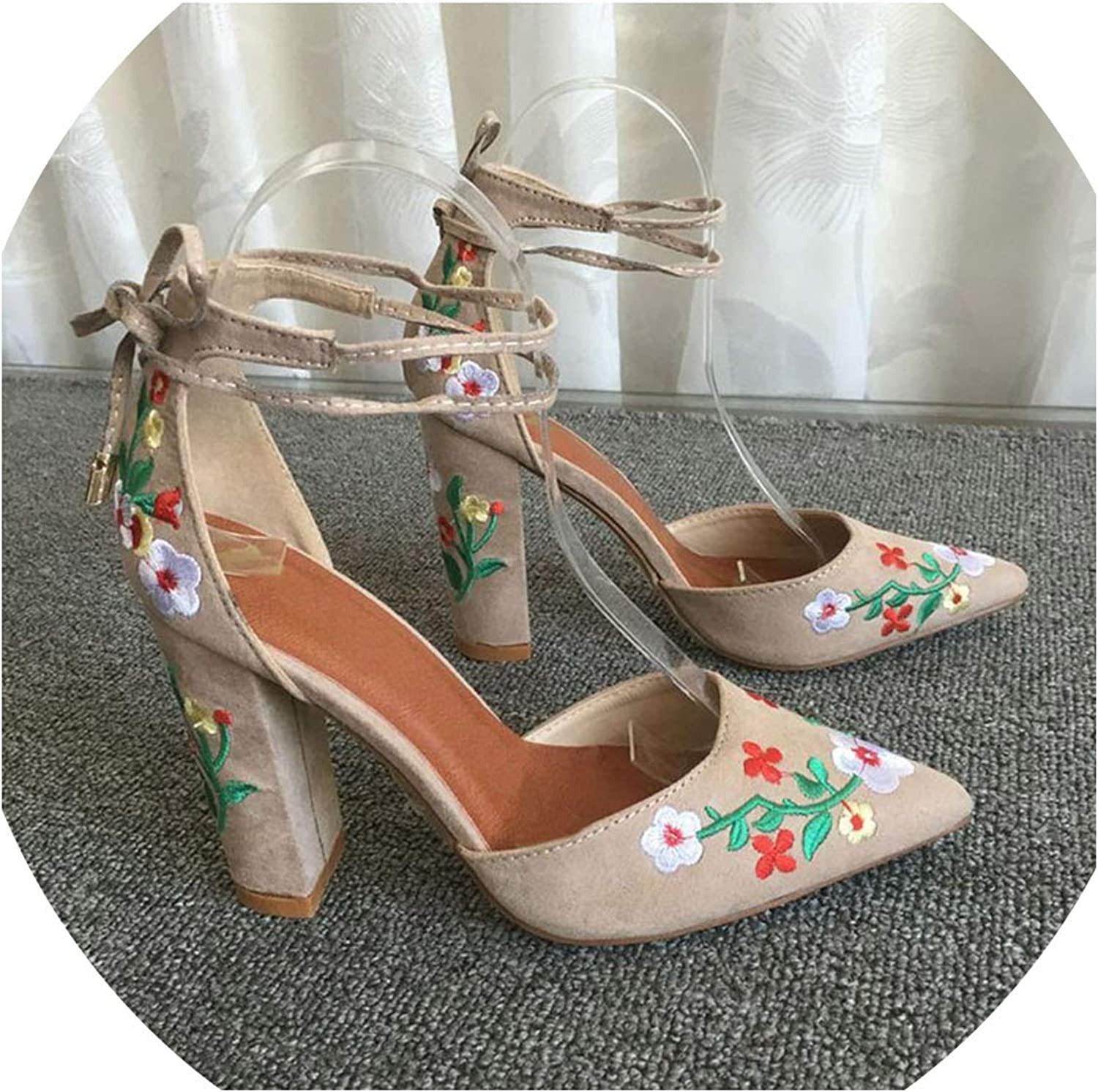 Fortune-god Women High Heels Embroidery Pumps Flower Ankle Strap shoes Sexy Party Wedding Pointed Toe