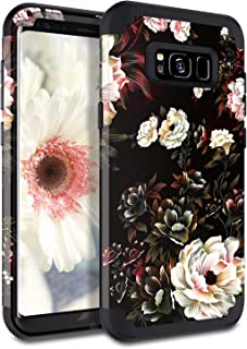 Lontect Compatible Galaxy S8 Plus Case Floral 3 in 1 Heavy Duty Hybrid Sturdy Armor High Impact Shockproof Protective Cover Case for Samsung Galaxy S8 Plus, Black/White Flower