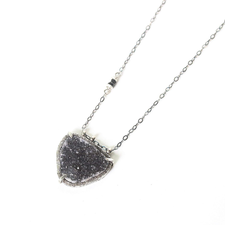 Import Triangle Black Druzy quartz pendant and necklace bezel cheap in silver