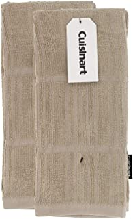 """Cuisinart Bamboo Kitchen Hand Towels, 2pk - Soft, Absorbent, Anti-Microbial Decorative Towel Set Perfect for Drying Dishes or Hands - Bamboo Cotton Blend, 16 x 26"""", Tan, Bark-Effect Design"""