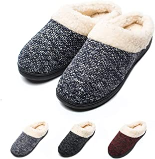 Git-up Women's Slippers Memory Foam Slip-on House Shoes Wool Plush Fleece W/Indoor, Outdoor Anti-Skid Pressure Relief Comfortable & Washable