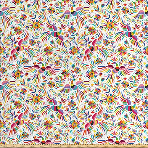 ABAKUHAUS Mexicano Tela por Metro, Naturaleza Colorido Étnico, Decorativa para Tapicería y Textiles del Hogar, 1M (148x100cm), Multicolor