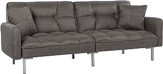 Divano Roma Furniture Collection Modern Plush Tufted Linen Fabric Splitback Living Room Sleeper Futon (Dark Grey), Small