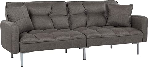 Divano Roma Furniture Collection Modern Plush Tufted Linen Fabric Splitback Living Room Sleeper Futon (Dark Grey), Small