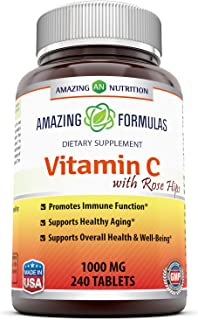 Amazing Formulas Vitamin C with Rose Hips Dietary Supplement - Non-GMO 1000 Mg 240 Tablets