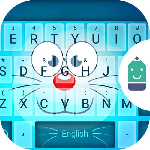 Blue Cat Face Theme&Emoji Keyboard