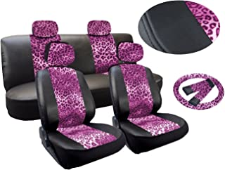 Leopard Print Deluxe Leatherette 13pc Full Car Seat Cover Set Premium Synthetic Leather Double Stitched - Low Back Front Bucket Seats - Rear Bench - Steering Wheel Set - 4 Headrests (Pink Leopard)