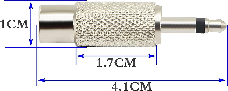 spina mono maschio a RCA femmina.5 Packs 3-Pole zdyCGTime Adattatore da RCA a 3,5 mm audio TS da 3,5 mm