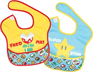 Bumkins Nintendo Super Mario SuperBib, Baby Bib, Waterproof, Washable, Stain and Odor Resistant, 6-24 Months, 2-Pack