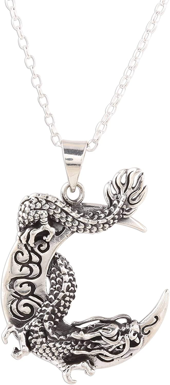 Novica Dragon Crescent Sterling Silver Pendant Large special price !! Girl Necklace Manufacturer OFFicial shop For