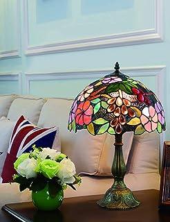 GH-YS Vintage Style Tischlampe 12 Zoll Pastoral Wunderschöne Blumen Glasmalerei Schlafzimmerlampe Nachttischlampe