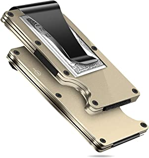 MUCO Credit Card Holder Wallet RFID Protection Lightweight Metal Travelling Daily Mens Womens Security Money Clip Gold