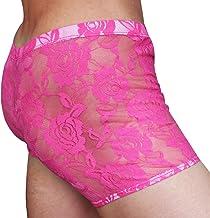 iiniim Men's Sheer Lace Floral Boxer Briefs Underwear Swim Shorts