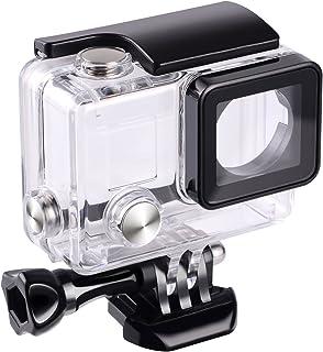 Flycoo Funda Cubierta impermeable Carcasa Gopro Hero 3 4 Con lente para GoPro Hero 3 + Hero 4 Cámara de acción con tornillo de fijación y Base protección submarina 45 m