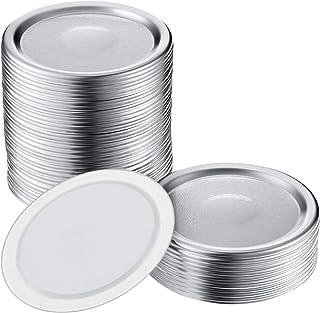 COOFO 48Pcs Regular Split-Type Lids,Stainless Steel Lids For Mason Jar Canning Lids Regular Mouth Reusable Leak Proof Stor...