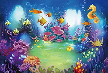 8x12 FT Nautical Vinyl Photography Backdrop,Underwater Wildlife Theme Marine Cartoon Pattern with Various Funny Sea Animals Background for Baby Shower Bridal Wedding Studio Photography Pictures