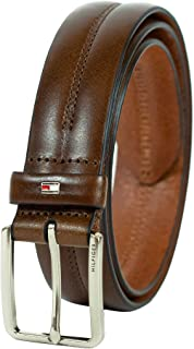 Tommy Hilfiger Men's Brown Belt - Dress or Casual Belt for Jeans with Solid Strap and Classic Single Prong Silver Buckle
