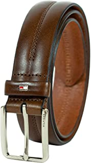 Men's Brown Belt - Dress or Casual Belt for Jeans with Solid Strap and Classic Single Prong Silver Buckle
