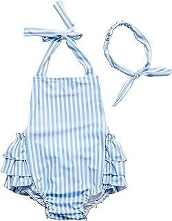 Strips 100% Swimsuit Infants Onesie Floral Ruffles Romper Dress