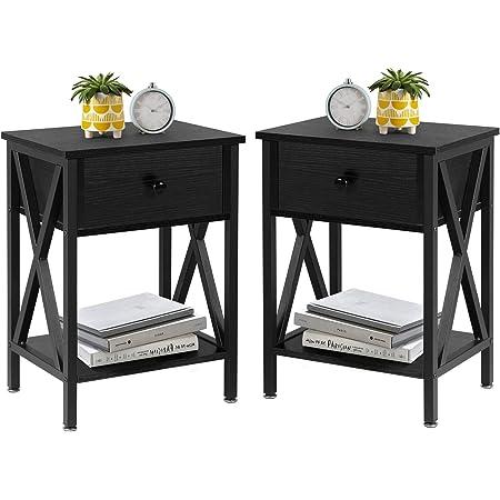 VECELO Modern Versatile Nightstands X-Design Side End Table Night Stand Storage Shelf with Bin Drawer for Living Room Bedroom, Set of 2 (Black)