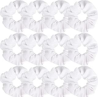 Whavel 12 Pack Hair Scrunchies Velvet Elastics Scrunchy Bobbles Soft Hair Bands Hair Ties, White