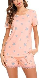 Irevial Pijamas de Mujer de Verano algodón Manga Corta Conjunto de Pijama de Estrellas/Leopardo Pantalon Corta 2 Piezas Fr...