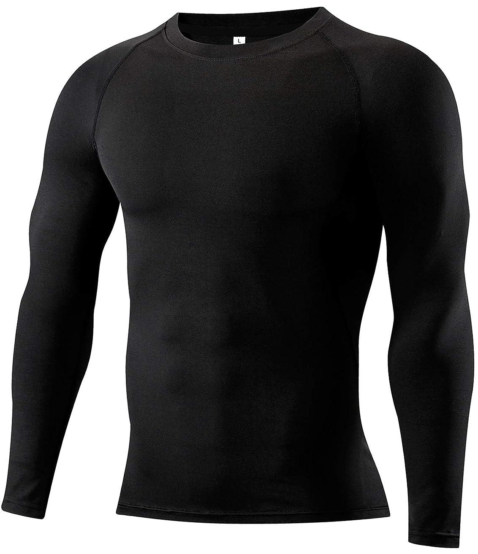悲惨工業用くそーコンプレッションウェア メンズ 長袖 ラウンドネック スポーツシャツ [UVカット?吸汗速乾]パワーストレッチ アンダーウェア トレーニング ランニング スポーツインナー