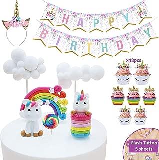 Makadami Unicorn Cake Topper - Unicorn Cake Decorations - Unicorn Cupcake Topper - Unicorn Horn Headband - Unicorn Party Decorations - Unicorn Cupcake Decorations - Unicorn Cake Decorating Kit