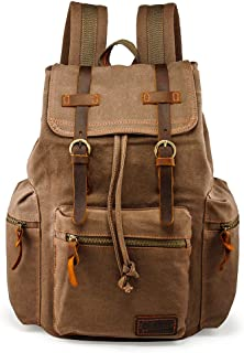GEARONIC TM 21L Vintage Canvas Backpack for Men Leather Rucksack Knapsack 15 inch Laptop Tote Satchel School Military Army Shoulder Rucksack Hiking Bag Brown