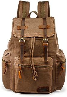 GEARONIC TM 21L Vintage Canvas Backpack for Men Leather Rucksack Knapsack 15 inch Laptop Tote Satchel School Military Army Shoulder Rucksack Hiking Bag Brown