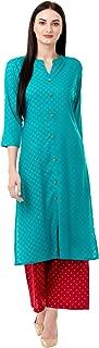 Chokhi Bandhni Women's Rayon Printed Kurta With Palazzo Set (Turquoise)
