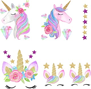 Unicorn Iron On Heat Transfer Diamond Iron Transfer Patches Glitter Heat Transfer Patches Flowers&Star Patches Clothes Patch Appliques Decorate T-Shirt Bag