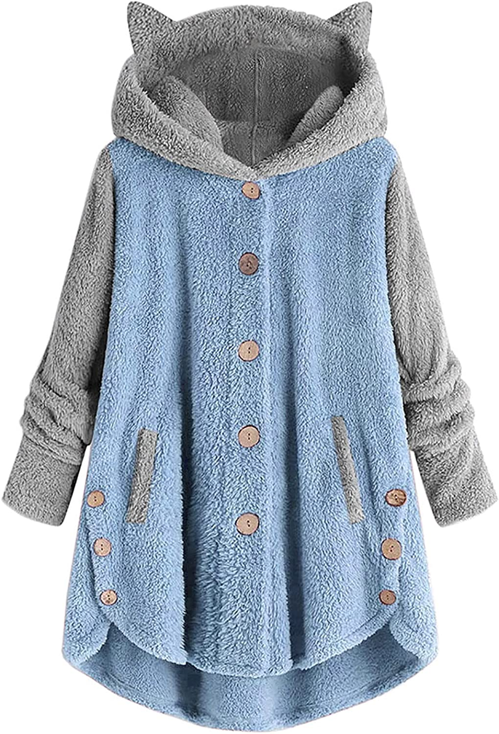 Women's Hoodies Coat Cat Ear Cap Plush Tops Fashion Loose Plus Size Button Long Sleeve Stitching Pullover Sweaters