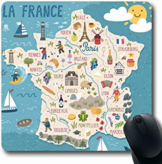 Ahawoso Mousepads Region Wine Map France Travel Nature Summer French Food Europe City Tourism Oblong Shape 7.9 x 9.5 Inches Non-Slip Gaming Mouse Pad Rubber Oblong Mat