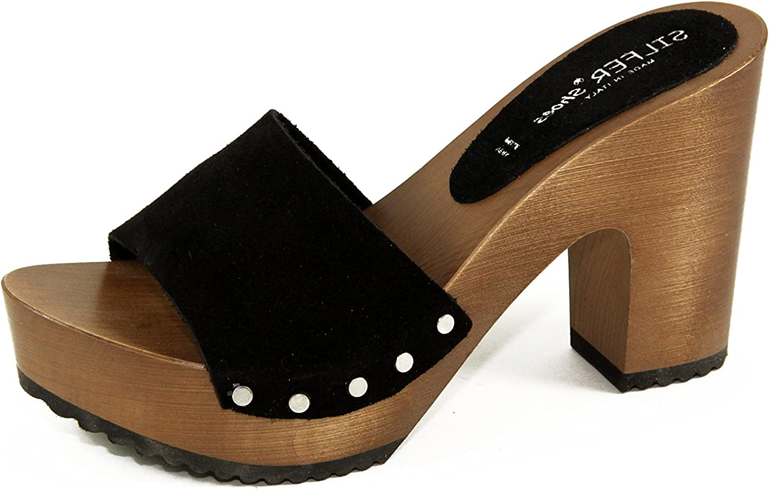 Silfer shoes Women's Clogs- Made in  Made Out of Real Wood and Leather - Blackcolor