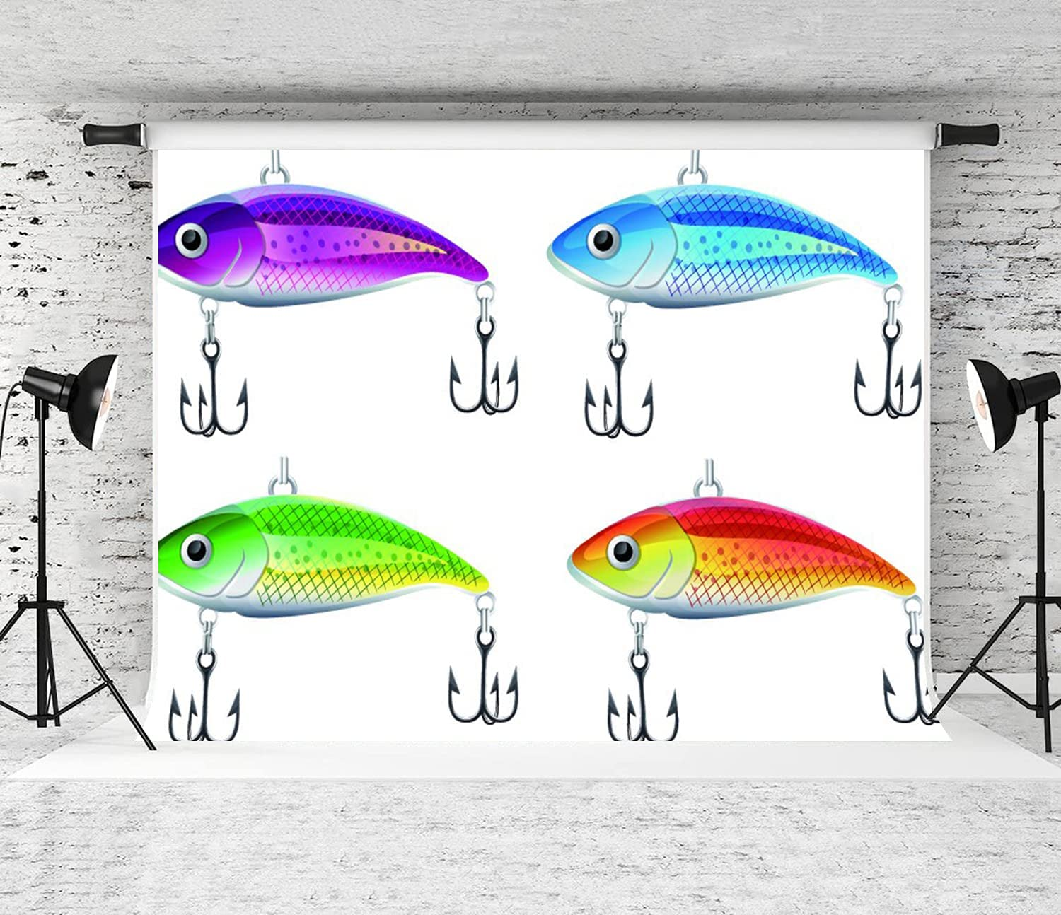 Cheap super special price DYCBNESS Photography Max 65% OFF Background Set Illustratio of Fishing Lures