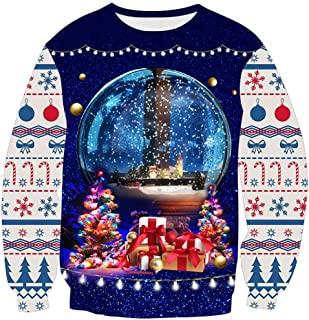 Armfre Tops Women's Funny Ugly Christmas Sweater 3D Crystal Ball Gift Box Graphic Pullover Sweatshirt Long Sleeve Shirts Novelty Merry Xmas Party Costume Dress up