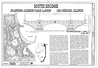 Historic Pictoric Blueprint Diagram HAER Ill, 16-CHIG, 157- (Sheet 1 of 2) - South Bridge, Spanning Jackson Park Lagoon at South Lake Shore Drive (U.S. Route 41), Chicago, Cook County, IL 12in x 08in