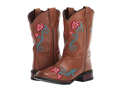 Roper Kids Helen (Toddler/Little Kid) (Amber Leather Vamp & Shaft/Floral Embroidery) Cowboy Boots