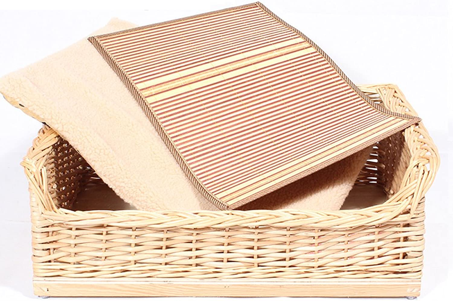 Rattan Kennel Mediumsized Dog Solid Wood Home Nest Small Dog Pet Nest Dog Bed Bamboo Knit Doghouse,DS
