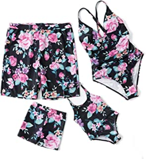Summer Family Matching Swimwear Floral One-Piece Mother Daughter Swimsuit Kids Men Shorts