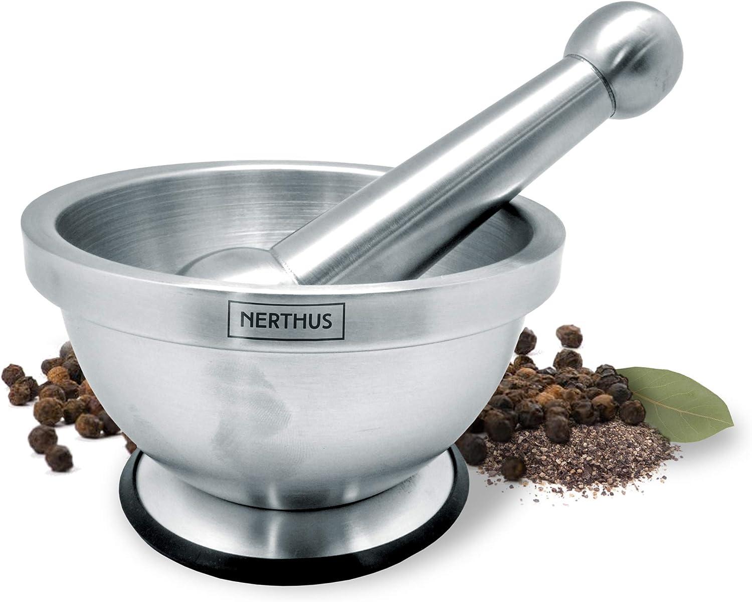 NERTHUS FIH 020 - Mortero de Mano para Especias de Acero Inoxidable, base Antideslizante