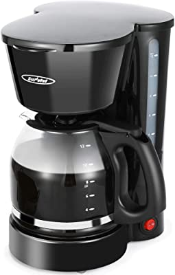 Cafetera de 12 tazas, cafetera con cafetera de cristal, función de mantenimiento, color negro