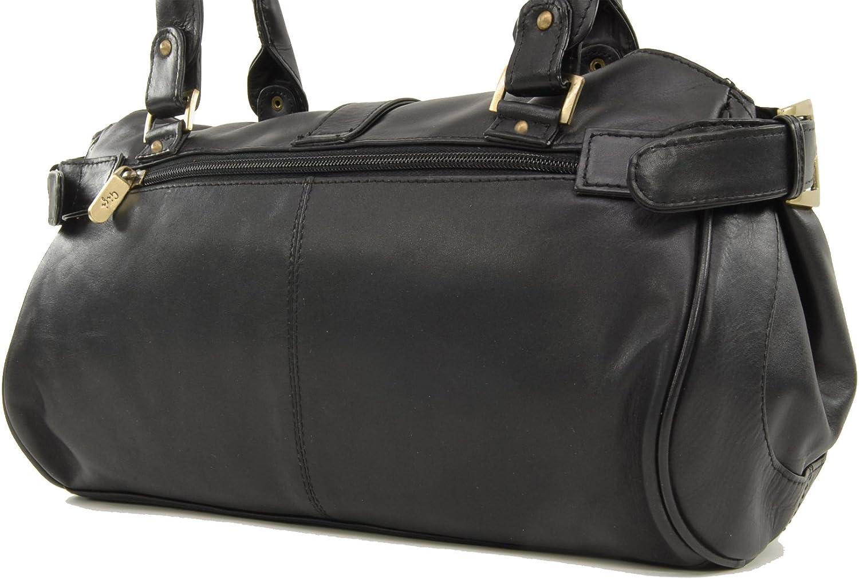 Gigi - Cuir Véritable - Sac Porté Main/Sac à Main/Sac porté épaule - Femme - 4528 Noir