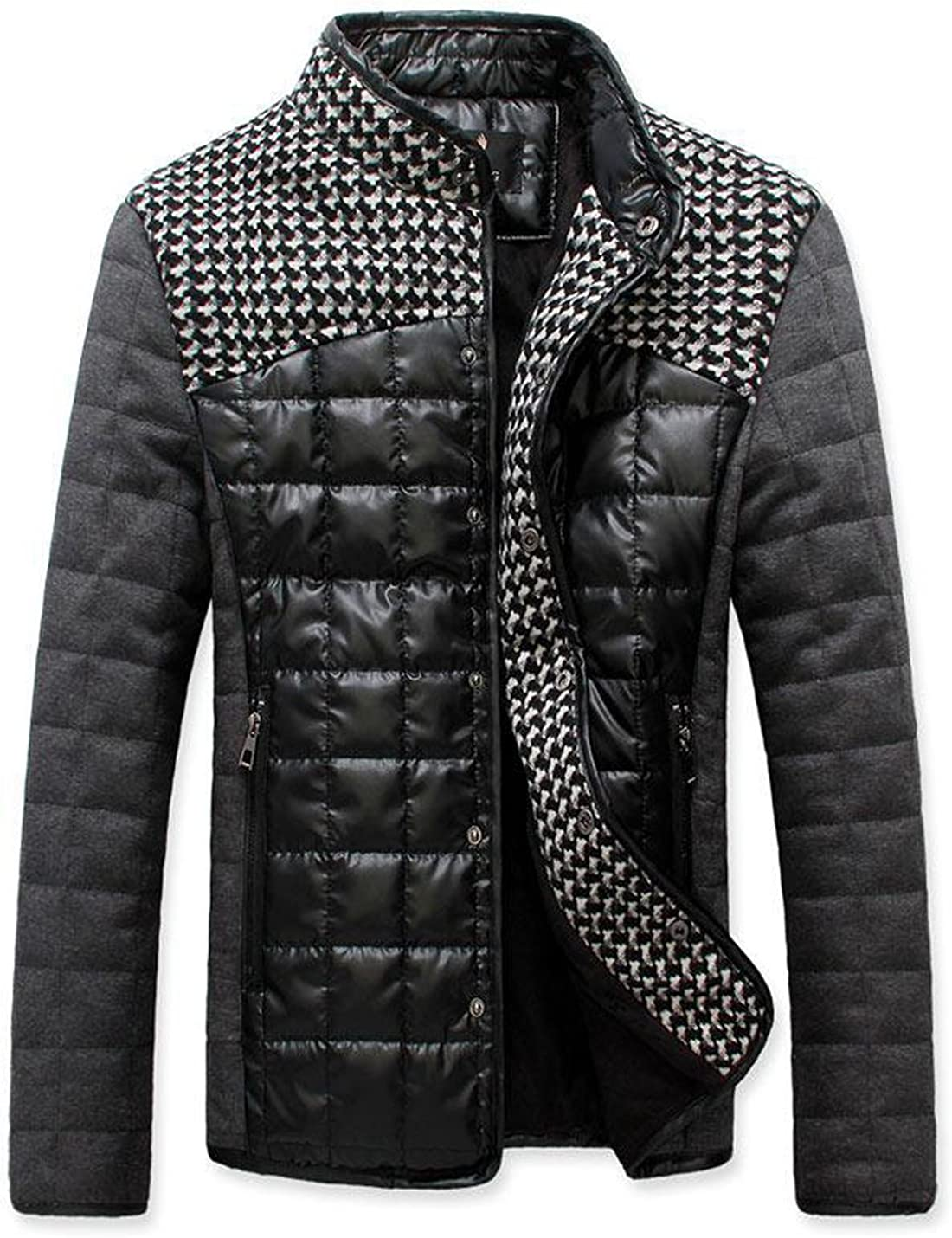 Springrain Men's Winter Houndstooth Buttons Color Block Quilted Padded PU Jackets