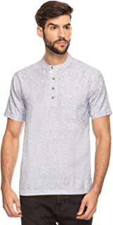 Shatranj Men's Indian Mandarin Collar Short Tunic Kurta with Textured Space Dye